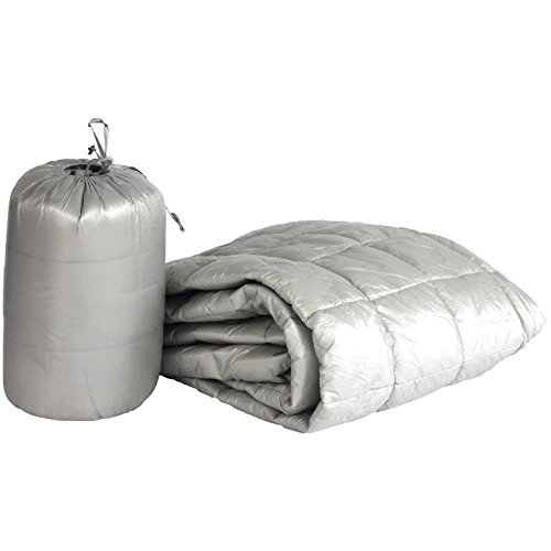 PUFF 50' x 70' High Loft Down Interior/Exterior Manta Resistente al Agua con Cubierta de Nailon Extra Fuerte, Moderno, Pewter, 127 cm x 178 cm, 1