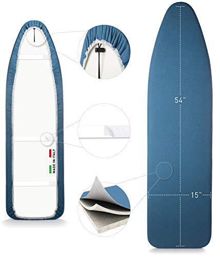 TIVIT Ironing Board Cover 15 x 54, Performance Grade Titanium Coated Pro Grip Pad & Covers - Superior Scorch & Stain Resistance, High Heat Reflection, 3 Padded Layers 3 Fastener Straps - Made In Italy