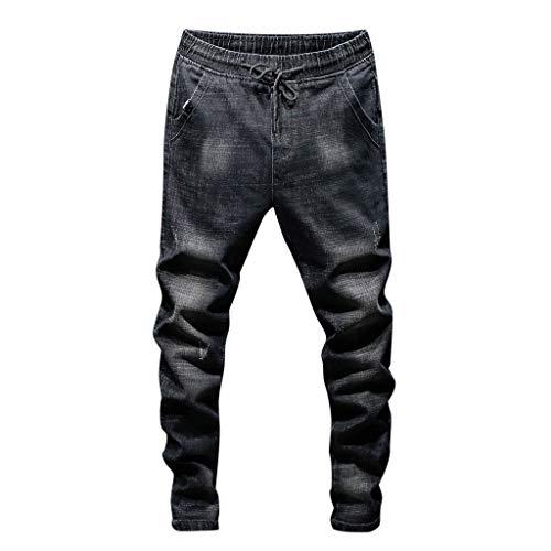 Zolimx Uomo Denim Pantaloni, Uomini Pantaloni Jeans,Denim Zip Elastico in Vita Lavoro Pantaloni Jeans Pantaloni Casual