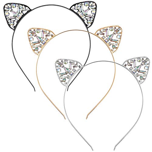NODG 3 Pieces Crystal Cat Ears Headbands Rhinestone Cat Ear Tiaras for Women Crystal Hair Hoop Women Girls Kids Party Decoration Headdress Cosplay Costume Head wear