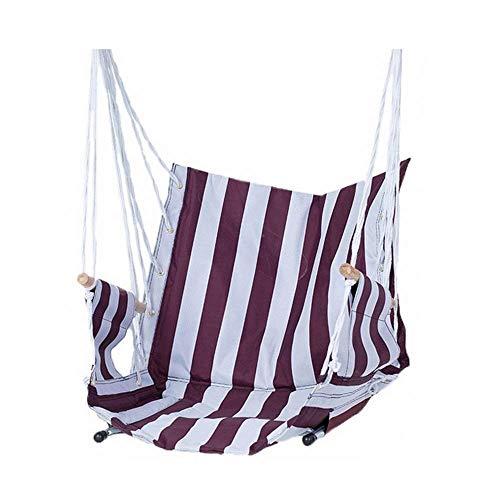 WYJW grote hangmat schommelstoel, ontspannende outdoor tuinstoel, zachte gevoerde kussens, binnen, buiten, strandstreep katoen