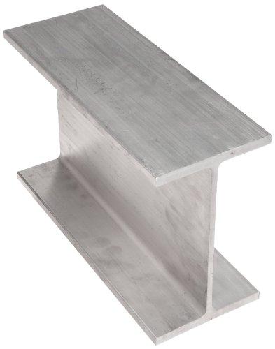 6061 Aluminum I-Beam, Unpolished (Mill) Finish, Extruded Temper, ASTM B221, Equal Leg Length, Squared Corners, 2-1/2
