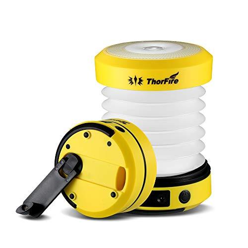 ThorFire Lámpara Camping LED USB Recargable, LED Camping Farol 125LM, Linterna Camping Plegable Carga Manualmente/USB, Ligero e Ideal para Toldo, Pesca, Emergencia (Amarillo)
