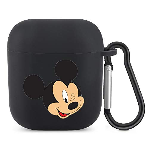 Mickey Mouse and Acting Cute AirPods Silicone Protective Cover (with Buckle) Protective Cover for AirPods 1/2 Generation Bluetooth Headset, The Best Gift for Men and Women