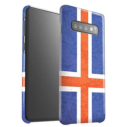 eSwish Gloss Hard Back Snap-On telefoonhoesje voor Samsung Galaxy S10 Plus/IJsland/IJslands ontwerp/vlaggen collectie