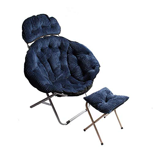 RUIX Home klapstoel, bureaustoel met voetensteun, geschikt voor slaapkamer, woonkamer, blauw