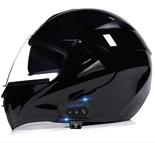 Casco Bluetooth De Moto Con Doble Visera, Certificación ECE Adultos Modular Integral Casco Moto Para Ciclomotor Motocicleta Y Scooter Mujer Hombre Verde Rojo Negrohelmet Black 3,S
