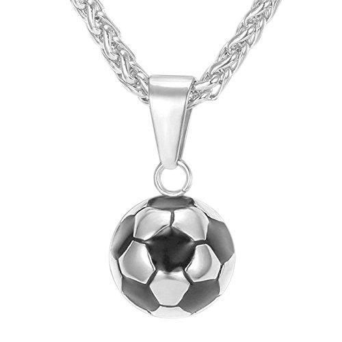 SODIAL Collar de Colgante de Futbol para los Hombres Collar de Acero Inoxidable de Copa Mundial de Futbol para los Aficionados Joyeria Plata