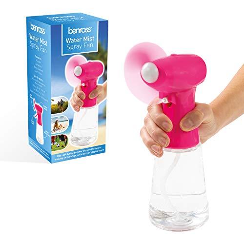 Ventilador Water Mist, ventilador portátil de agua nebulizada, funciona con pilas, ideal para vacaciones, deportes, oficina, jardín, 400 ml, de Benross., 40249