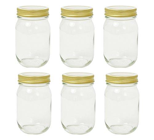 アデリア ガラス びん 保存瓶 クリア 475ml ダブルキャップ 6個セット 日本製 M-6656