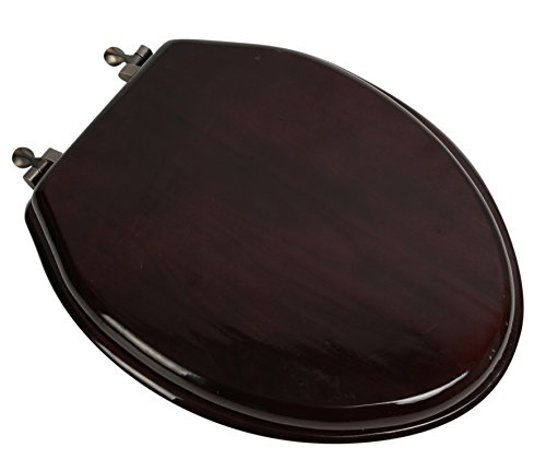 Bath Décor 5F1E2-16OB Deluxe Wood Toilet Seat, STAINED MAHOGANY/OIL RUBBED BRONZE