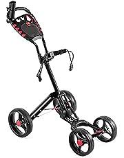 COSTWAY Golftrolley, 4 wielen vouwbare golf duwkar met drink paraplu houder scorekaart, multifunctionele en handige golfkar snel open en dicht