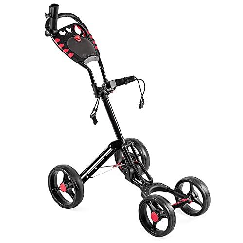 COSTWAY Carrito de Golf con 4 Ruedas Carro de Golf Plegable con Asa Ajustable,Paragüero,Portavasos y Marcador Carro de Empuje