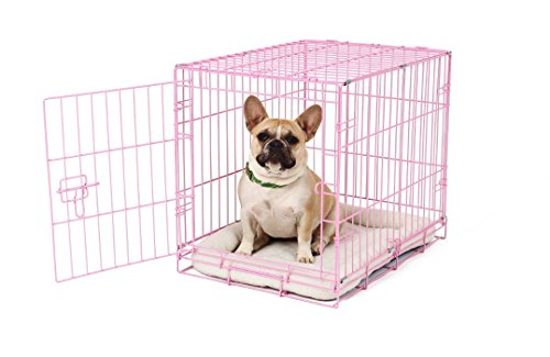 Carlson Pink Secure and Compact Single Door Metal Dog Crate Small