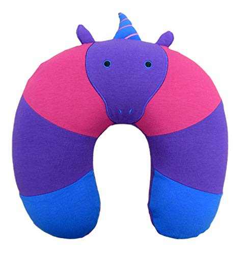 Yogibo Mates Neck Pillow - Comfortable Cylinder Pillow w/ Patented Fibead Filling - Removable Machine Washable Cotton & Spandex Cover - Perfect to Cuddle - Neck & Back Support - Unicorn