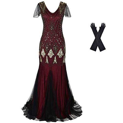 Women Evening Dress 1920s Flapper Cocktail Mermaid Plus Size Formal Gown with Long Gloves (XXL/US 18-20, Burgundy Gold)