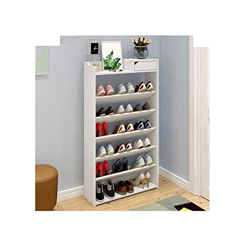 Zapatero de 7 niveles con cajón de madera para zapatos, organizador de almacenamiento de zapatos para entrada, pasillo (color: blanco, tamaño: 60 cm (7 niveles)