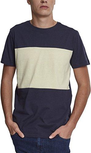 Urban Classics Contrast Panel tee Camiseta, Multicolor (Navy/Powder Yellow 01364), S para Hombre