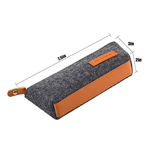 DishyKooker Filzstiftetui Reißverschluss Boot Form Stift Tasche Tasche mit Griff Student School Briefpapier Versorgung dunkelgrau articulos de producto