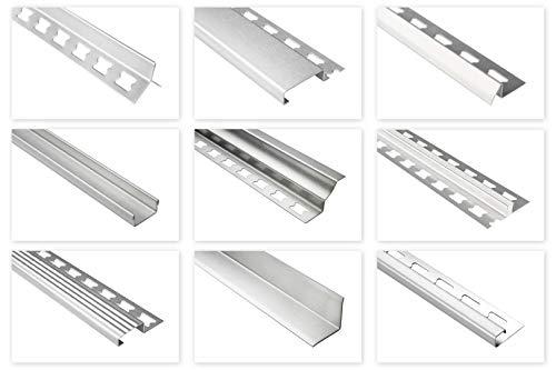 HEXIM Fliesenschienen/Edelstahlschienen, silber gebürstet 2m - große Auswahl an Schienenhöhen und Profilen, V2A Edelstahl - 16mm Kantenschutzprofil für Innenecken