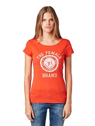 TOM TAILOR Denim Damen Basic Crew-Neck T-Shirt, 15550-brilliant red, M
