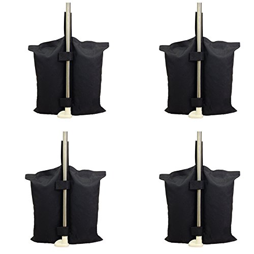 YELAIYEHAO Grado Industrial Heavy Duty Bolsa de Pesos con Doble Costura, Pierna Pesos para Pop Up Carpa Peso Bolsas de Arena Bolsa de pies 4pcs-Pack, Color Negro. (Canopy weightsbag, Black)