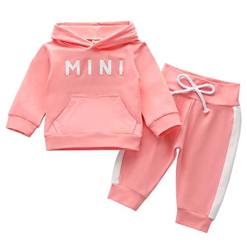 Geagodelia Babykleidung Set Baby Mädchen Kleidung Outfit Langarm Kapuzenpullover Top + Hose Neugeborene Kleinkinder Weiche Babyset T-47889 (0-6 Monate, Pink 707)