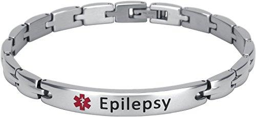Smarter LifeStyle Elegantes medizinisches Notfallarmband aus Chirurgenstahl für Damen, Epilepsie, Damen S