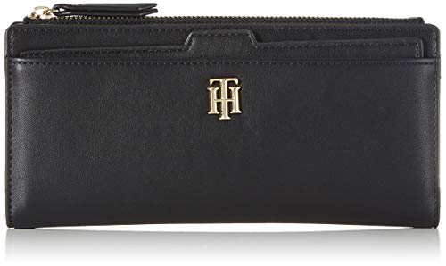 Tommy Hilfiger TH Seasonal Slim Wallet, Piccola Pelletteria Donna, Nero, One Size