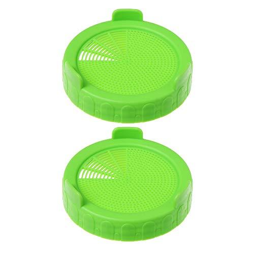 4/2/1 pz forniture da giardino per 86 mm Mason Jar Seed Growing Germination strumento bocca larga anello di tenuta coperchio germogliare filtro (2 pezzi, verde)
