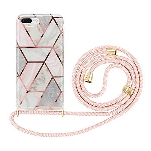 Imikoko Handykette Hülle für iPhone 7 Plus/8 Plus Necklace(abnehmbar) Hülle mit Kordel zum Umhängen Silikon Handy Schutzhülle mit Band - Schnur mit Hülle zum umhängen