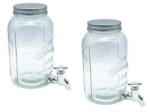 Bada Bing 2er Set Getränkespender Jeweils Ca. 1 Liter Für Bowlen Wasser Limonade Höhe ca. 19,5 cm Ø 9,5 cm Wasserspender Glas Mit Zapfhahn und Deckel 53