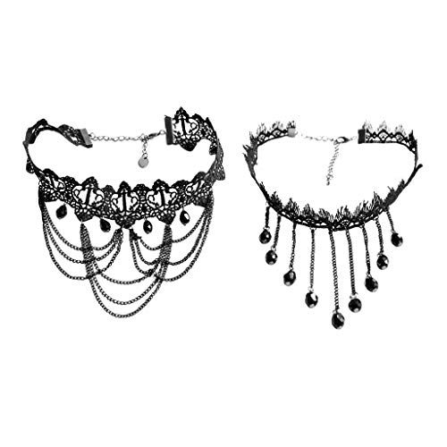 sharprepublic 2 Unids Vintage Cordón Negro Gótico Tatuaje Gargantilla Collares Borlas Cadena Colgante