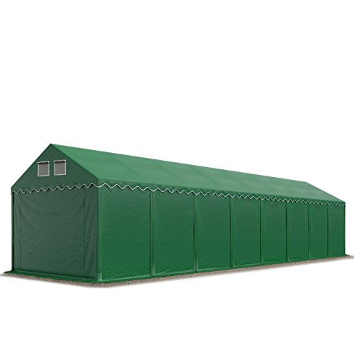 TOOLPORT 4x16m Storage Tent XXL Professional 2,6m Shelter with GROUNDBAR Heavy Duty 550 g/m² 100% waterproof PVC dark green