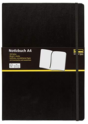 Idena 10053 - Notizbuch, A4, Blanko, Papier Cremefarben, 96 Blatt, 80 g/m², Hardcover in Schwarz, 1 Stück