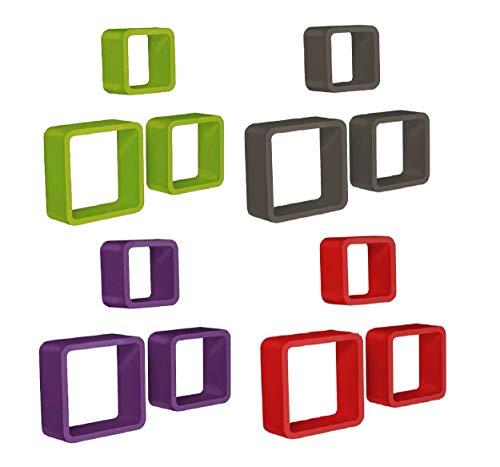 SPACEO 3er Set Regal Wandregal Hängeregal DIY Deko Wandgestaltung Einfarbig Cube Würfel Box (Grün)