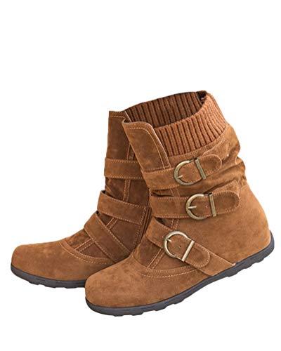 Minetom Zapatos Invierno Mujer Botas De Nieve Planas Casual Ankle Boots Botines Casual Moda Hebilla De Gamuza