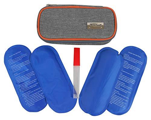 Insulin Kühltasche Von HEALUA-Diabetiker Tasche Diabetikertasche für Unterwegs Medikamenten Kühltasche Medikamententasche Reise mit 4 Kühlbeuteln, Thermometer & Behälter für Gebrauchte Insulin Nadeln