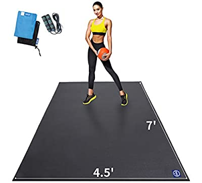 Premium Large Exercise Mat 7' x 4.5' x 7mm, High-Density Workout Mats for Home Gym Flooring, Non-Slip, Extra Thick Durable Cardio Mat, and Ideal for Plyo, MMA, Jump Rope - Shoe Friendly