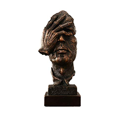ZLBYB Escultura de decoración-Esculturas y estatuas, Decoración Moderna for el hogar, Silencio es Oro, Escultura de Manos y Cara, Dormitorio de la Sala de Estar, Decoración de Resina Vintage