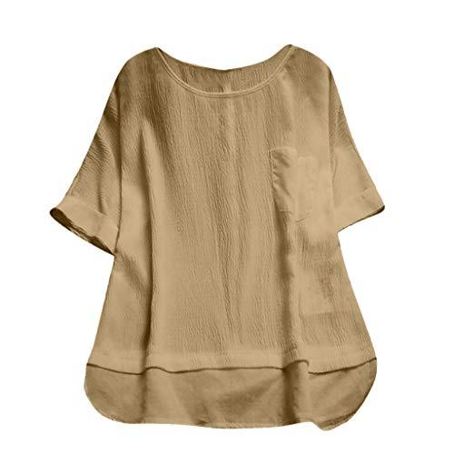 T Shirt Damen Sommer Bluse Shirts Tops Hemd Tunika Rundhals Kurzarm Volltonfarbe Lose Pullover Plus(Gelb,XXXXL)