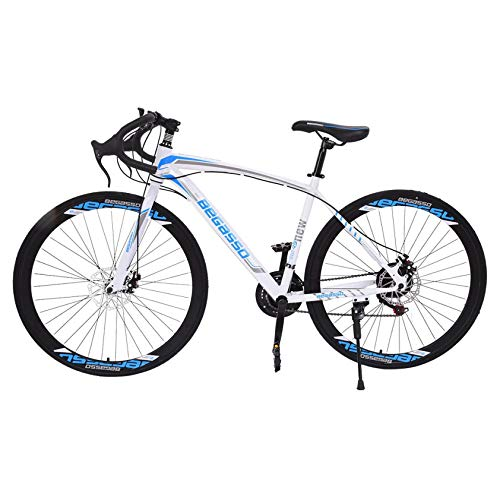 26 inch Road Bike Bicycles, Begasso Shimanos Full Suspension Road Bike, 21 Speed Disc Brakes, 700c Tire, Mens/Womens Fashionable Bikes (White)