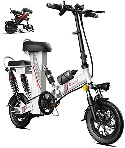 BIKFUN Bicicletta elettrica da Montagna E-Bike, Bicicletta elettrica assistita da 12 Pollici con Batteria al Litio da 48 V 30 Ah, Motore da 350 W, (Colore: Argento, Dimensioni: Portata: 200