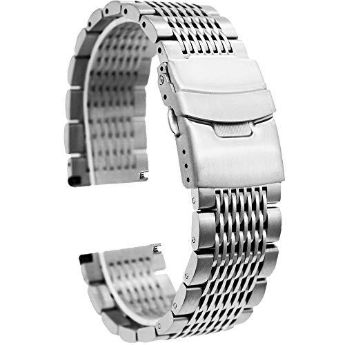 Kai Tian Premium 24mm Silber Armbanduhr Edelstahl Uhrarmband Mesh Uhrenband für Damen Herren Doppelschlösser Faltschließe Uhrenarmband Ersatz Metall Armband