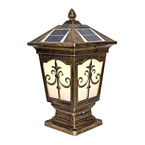 Traditional Classical Outdoor Solar Column Lights Cast Aluminum Garden Waterproof Post Light Retro Black Exterior Corridor Pillar Lamp Cage Villa Commercial Street Lighting