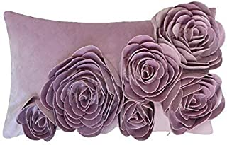 JWH 3D Handmade Accent Pillow Cases Rose Flowers Cushion Covers Velvet Decorative Pillowcases Home Sofa Car Bed Living Room Office Chair Decor Pillowslips Rectangular Gifts 12 x 20 Inch Purple