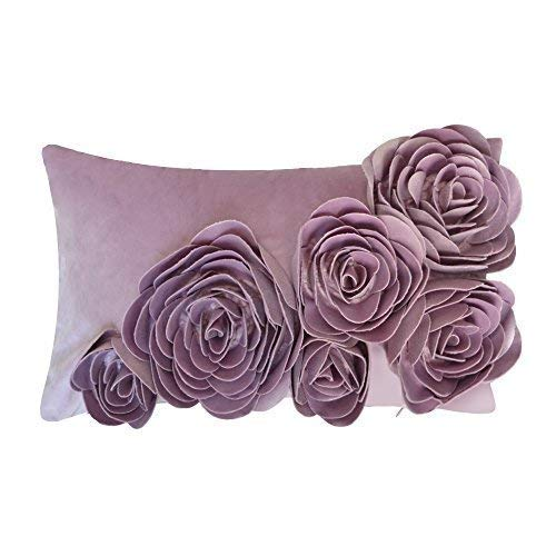 JWH 3D Rose Flower Throw Pillow Cover Decorative Accent Pillow Case Handmade Pillowcase Velvet Cushion Cover Home Bed Room Sofa Decor Gift 12 x 20 Inch Purple