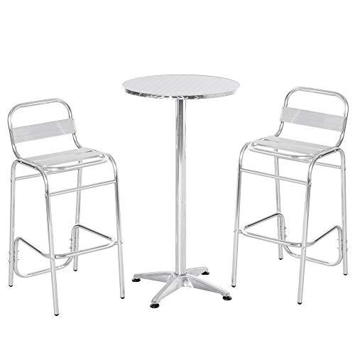 Outsunny Set Tavolino Alto con 2 Sgabelli da Bar, Arredamento da Giardino in Alluminio e Acciaio Colore Argento