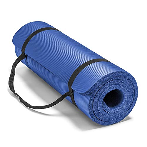 HOME HUT Large 15 mm X 1.9 m Thick Yoga Mat Pilates Gymnastics Exercise with Carrier Strap (Blue)