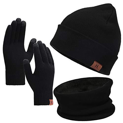 Bequemer Laden Wintermütze Herren Strickmütze, Rundschal, Touchscreen Handschuhe - Sets, Warme Handschuhe Winterschal und Mütze mit Fleecefutter, Schwarz, Einheitsgröße